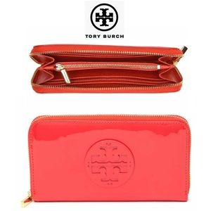 Tory Burch Patent Leather Zipper Wallet NWT Red